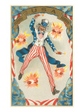 Uncle Sam Throwing Fire Crackers  Hurrah