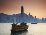 Hong Kong Island Skyline and Tourist Boat Victoria Harbour  Hong Kong  China