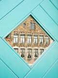 Traditional Building Reflected in the Window  Bruges  Belgium
