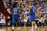 Dallas Mavericks v Miami Heat - Game One  Miami  FL - MAY 31: DeShawn Stevenson and Dirk Nowitzki