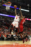 Miami Heat v Chicago Bulls - Game Five  Chicago  IL - MAY 26: Luol Deng and LeBron James