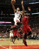 Miami Heat v Chicago Bulls - Game Five  Chicago  IL - MAY 26: Derrick Rose and Dwyane Wade