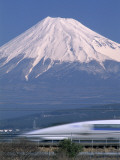 Mount Fuji and Bullet Train (Shinkansen)  Honshu  Japan