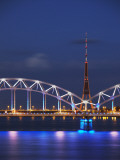 Railway Bridge across Daugava River with Tv Tower in Background  Riga  Latvia