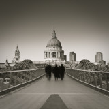 Millennium Bridge and St Paul's Cathedral  London  England