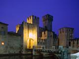 Lake Garda / Rocca Scaligera Castle / Night View  Sirmione  Veneto  Italy