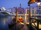 Rialto Bridge  Grand Canal and Gondolas  Vencie  Italy