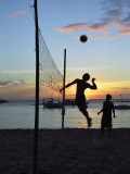 People Playing Volley Ball on White Beach at Sunset  Boracay  Philippines