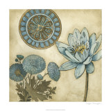 Blue & Taupe Blooms II