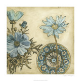 Blue &amp; Taupe Blooms I