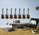 Brown Guitar Silhouette - Set of 7