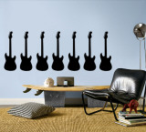 Black Guitar Silhouette - Set of 7