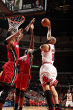 Miami Heat v Chicago Bulls - Game Five  Chicago  IL - MAY 26: Carlos Boozer  Joel Anthony and Chris
