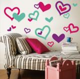 Hearts - Aqua  Bright Pink  Purple