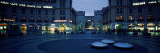 Buildings Lit Up at Dusk at a Town Square  Karlsplatz  Munich  Bavaria  Germany
