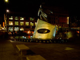 Statue of Adam Clayton Powell Jr at Night  Harlem  Manhattan  New York City  New York State  USA