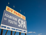 Low Angle View of a Signboard  Fountain of Youth Spa  Salton Sea  Bombay Beach  Imperial County