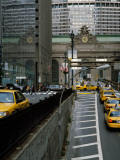 Yellow Taxis on Road Viewed From Park Avenue Tunnel  Grand Central Terminal  Manhattan  New York