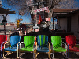 Multi-Colored Chairs at a Sidewalk Cafe  Route 66  Seligman  Yavapai County  Arizona  USA