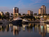 Boats on a Marina at Dusk  Shoreline Village  Long Beach  Los Angeles County  California  USA