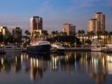 Boats on a Marina at Dusk  Shoreline Village  Long Beach  Los Angeles County  California  USA