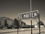 Station Name Signboard at a Railway Station  El Maiten  Chubut Province  Patagonia  Argentina