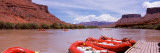 Inflatable Rafts at a Pier  Colorado River  Moab  Grand County  Utah  USA