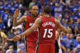 Miami Heat v Dallas Mavericks - Game Three  Dallas  TX -June 5: Mario Chalmers and Udonis Haslem