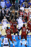 Miami Heat v Dallas Mavericks - Game Three  Dallas  TX -June 5: Ian Mahinmi  Udonis Haslem  LeBron