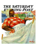 """Rain on Laundry Day "" Saturday Evening Post Cover  June 15  1940"