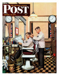 &quot;Barber Getting Haircut &quot; Saturday Evening Post Cover  January 26  1946