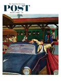 """Cramped Parking "" Saturday Evening Post Cover  March 5  1960"
