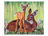 """Doe and Fawn in Forest "" June 1  1940"