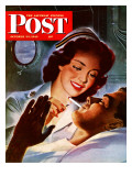 &quot;Lighting His Cigarette &quot; Saturday Evening Post Cover  October 23  1943