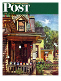"""Birdhouse Builder "" Saturday Evening Post Cover  May 8  1948"