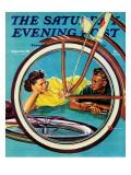 """Bicycle Ride,"" Saturday Evening Post Cover, August 16, 1941 Giclée par Douglas Crockwell"
