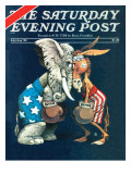 &quot;Democrats vs Republicans &quot; Saturday Evening Post Cover  July/Aug 1980