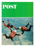 """Sky Divers "" Saturday Evening Post Cover  June 18  1966"