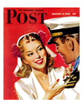 """Naval Officer & Woman "" Saturday Evening Post Cover  August 8  1942"