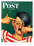&quot;Boy Mimicking Hitler &quot; Saturday Evening Post Cover  January 23  1943