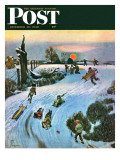 &quot;Sledding by Sunset &quot; Saturday Evening Post Cover  December 18  1948