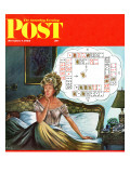 """Bridge Hand Disturbs Sleep "" Saturday Evening Post Cover  December 1  1962"