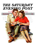 """Helping with Homework "" Saturday Evening Post Cover  May 25  1940"