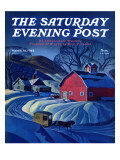 &quot;Mail Wagon in Snowy Landscape &quot; Saturday Evening Post Cover  March 14  1942