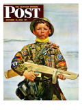 """Commando Kid "" Saturday Evening Post Cover  October 14  1944"