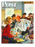 """Flirting Soda Jerk,"" Saturday Evening Post Cover, October 11, 1947 Giclée par Constantin Alajalov"