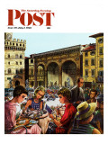 """Writing Postcards Home "" Saturday Evening Post Cover  June 30  1962"
