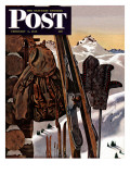 &quot;Ski Equipment Still Life &quot; Saturday Evening Post Cover  February 3  1945