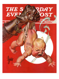 """New Year and Warring Fist "" Saturday Evening Post Cover  January 4  1941"