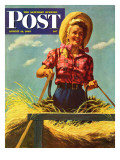"""Woman Driving Hay Wagon "" Saturday Evening Post Cover  August 14  1943"
